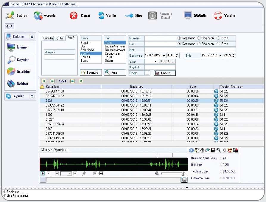 karel gkp gorusme kayit sistemi Karel Santral Görüşme Ses Kayıt Sistemleri GKS 02 04 08